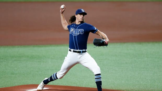 May 26, 2021; St. Petersburg, Florida, USA; Tampa Bay Rays starting pitcher Tyler Glasnow (20) throws a picot in the first inning agains the Kansas City Royals at Tropicana Field. Mandatory Credit: Nathan Ray Seebeck-USA TODAY Sports