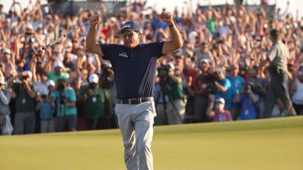 The winning moment. Mickelson captures sixth career major and second career PGA Championship title.(Scott Halleran/Scott Halleran)