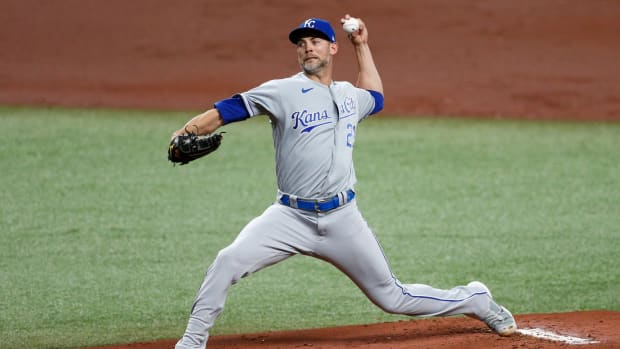 May 26, 2021; St. Petersburg, Florida, USA; Kansas City Royals starting pitcher Mike Minor (23) throws a pitch in the first inning agains the Tampa Bay Rays at Tropicana Field. Mandatory Credit: Nathan Ray Seebeck-USA TODAY Sports