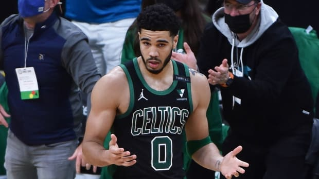 Boston Celtics forward Jayson Tatum (0) reacts after making a basket and getting fouled during the second half during game three in the first round of the 2021 NBA Playoffs against the Brooklyn Nets