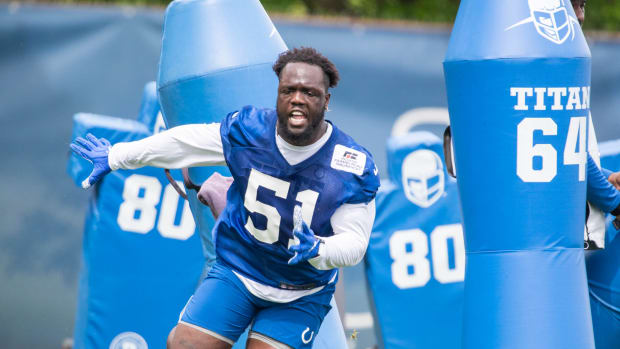 May 27, 2021; Indianapolis, Indiana, USA; Indianapolis Colts defensive end Kwity Paye (51) works out during Indianapolis Colts OTAs.