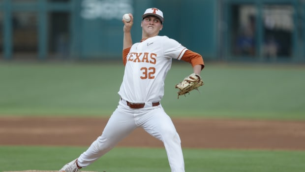May 26, 2021; Oklahoma City, Oklahoma, USA; Texas pitcher Ty Madden (32) delivers a pitch to West Virginia during the Big 12 Conference Baseball Tournament at Chickasaw Bricktown Ballpark. Mandatory Credit: Alonzo Adams-USA TODAY Sports