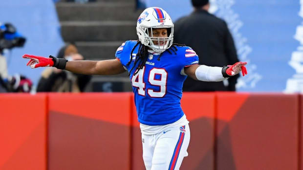 Buffalo Bills middle linebacker Tremaine Edmunds (49) celebrates a missed field goal by Indianapolis Colts kicker Rodrigo Blankenship (not pictured) during the third quarter of last January's playoff game at Bills Stadium.