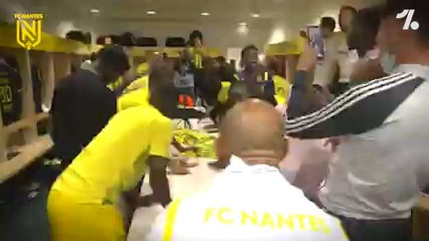 FC Nantes players celebrating win in Ligue 1 playoff