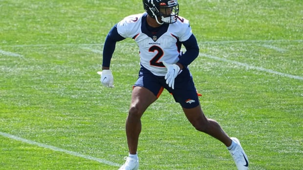 Denver Broncos cornerback Pat Surtain II (2) during organized team activities at the UCHealth Training Center.