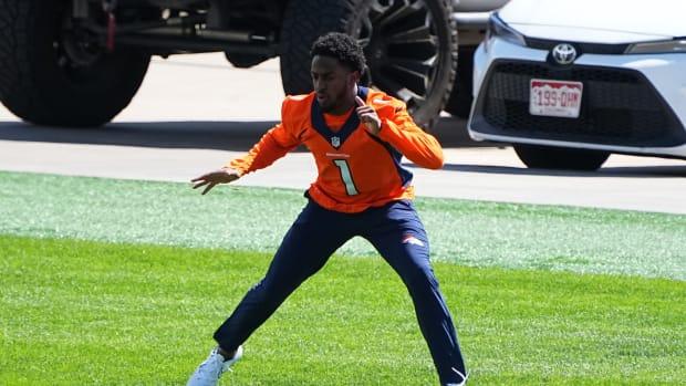 Denver Broncos wide receiver K.J. Hamler (1) during organized team activities at the UCHealth Training Center.