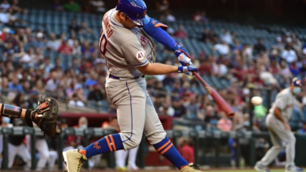 Mets first baseman Pete Alonso returned from the IL with authority, slugging a home run and driving in four.