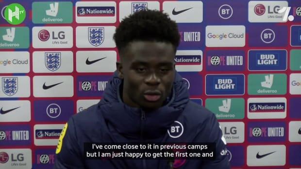 Bukayo Saka on scoring his first goal for England