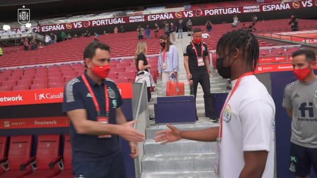 Ansu Fati pays visit to Spain teammates