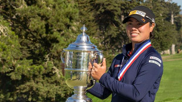 Yuka Saso after winning the 2021 US Women's Open.