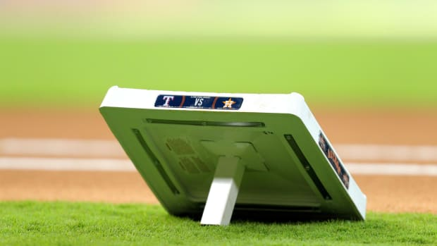 May 12, 2018; Houston, TX, USA; A commemorative base rests on the infield prior to a game between the Houston Astros and the Texas Rangers at Minute Maid Park.