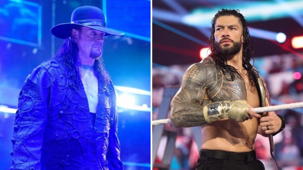 Side by side image of The Undertaker and Roman Reigns