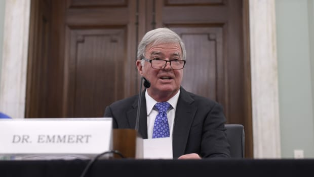 """NCAA president Mark Emmert speaks during a Senate Commerce, Science and Transportation Committee hearing on """"NCAA Athlete NIL (name, image, and likeness) Rights"""" on Capitol Hill on June 9, 2021 in Washington, DC. Congress hopes to pass legislation on NIL compensation at the federal level before it takes effect in several states across the country on July 1."""