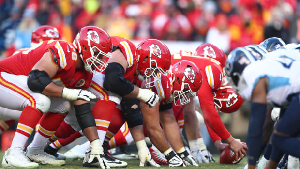 Jan 19, 2020; Kansas City, Missouri, USA; General view down the line of scrimmage as the Kansas City Chiefs prepare to snap the ball against the Tennessee Titans in the AFC Championship Game at Arrowhead Stadium. Mandatory Credit: Mark J. Rebilas-USA TODAY Sports