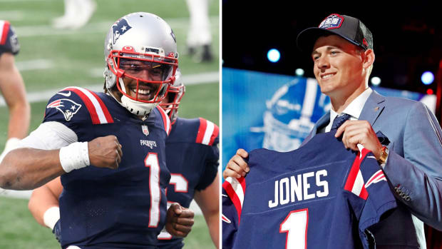 Side by side image of Cam Newton and Mac Jones