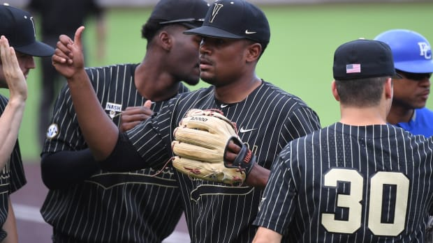 Jun 4, 2021; Nashville, TN, United States; Vanderbilt Commodores pitcher Kumar Rocker (80) after getting out of the first inning against the Presbyterian Blue Hose in the Nashville Regional of the NCAA Baseball Tournament at Hawkins Field. Mandatory Credit: Christopher Hanewinckel-USA TODAY Sports