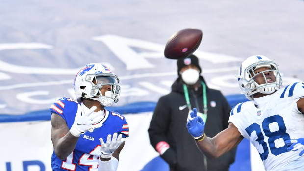 Buffalo Bills wide receiver Stefon Diggs (14) catches a touchdown pass over Indianapolis Colts cornerback T.J. Carrie (38) in the fourth quarter at Bills Stadium.