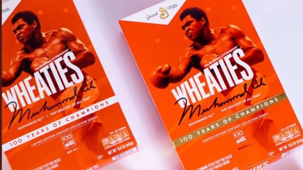 Boxing legend Muhammad Ali on a Wheaties box