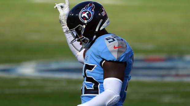 Tennessee Titans inside linebacker Jayon Brown (55) after a defensive stop during the first half against the Chicago Bears at Nissan Stadium.