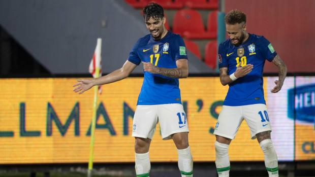 Neymar celebrates Brazil's goal against Paraguay.