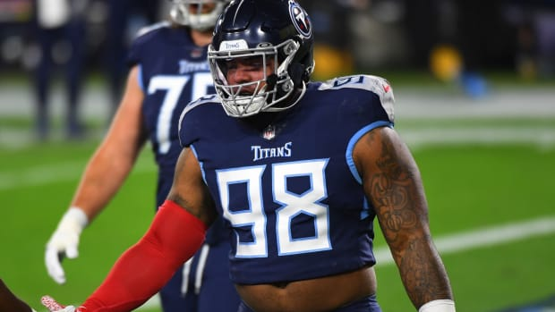 Tennessee Titans defensive tackle Jeffery Simmons (98) before the game against the Indianapolis Colts at Nissan Stadium.
