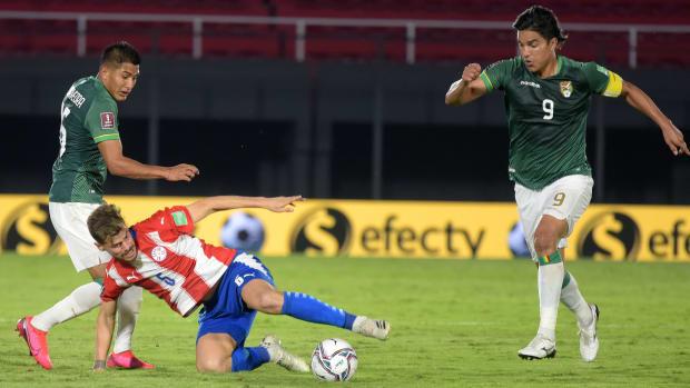 Marcelo Martins Moreno against Paraguay.