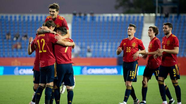 Spain celebrates a goal against Lithuania.