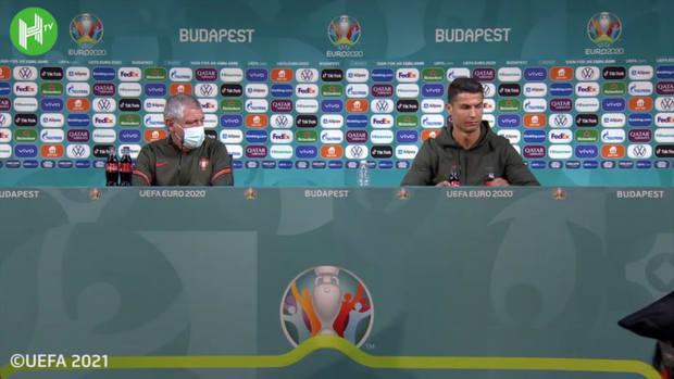 Cristiano Ronaldo unhappy with Coca-Cola bottles at press conference