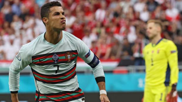 Cristiano Ronaldo scores against Hungary.