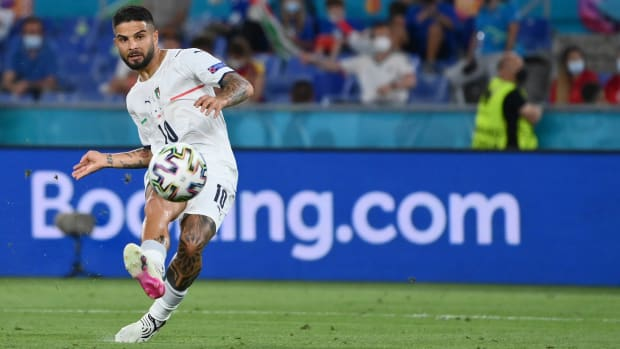 Lorenzo Insigne scores against Turkey.