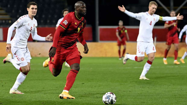 Romelu Lukaku against Denmark.