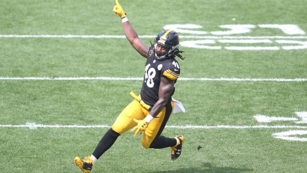 Pittsburgh Steelers outside linebacker Bud Dupree (48) reacts after recording a sack against the Minnesota Vikings during the second quarter at Heinz Field. The Steelers won 26-9.