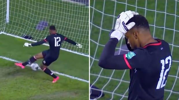 Haiti's Josué Duverger allows an own goal vs. Canada
