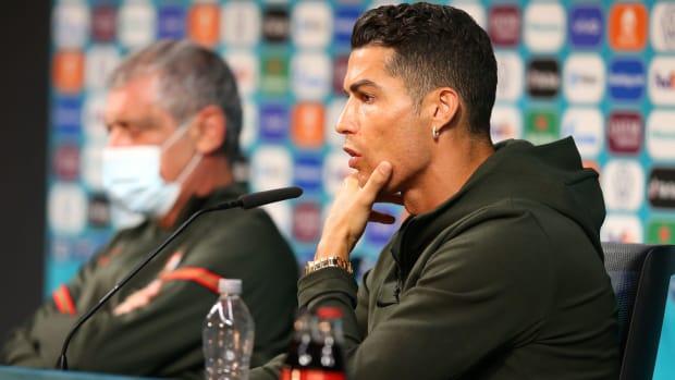 Cristiano Ronaldo at a press conference.