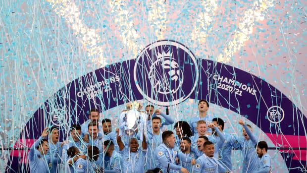 Man City celebrate the Premier League title.