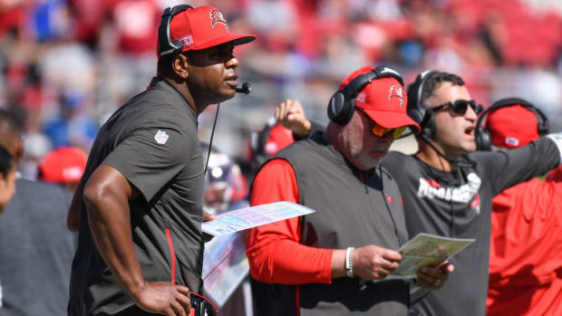Buccaneers head coach Bruce Arians with offensive coordinator Byron Leftwich