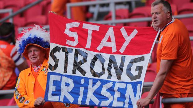 Fans show support for Christian Eriksen