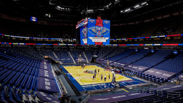 May 3, 2021; New Orleans, Louisiana, USA; Marvel night on the scoreboards presented before the game between the New Orleans Pelicans and the Golden State Warriors at Smoothie King Center.