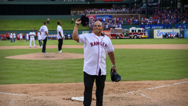 Sep 29, 2019; Arlington, TX, USA; Former Texas Rangers catcher Ivan Rodriguez waves to the crowd after the game between the Texas Rangers and the New York Yankees in the final home game at Globe Life Park in Arlington.