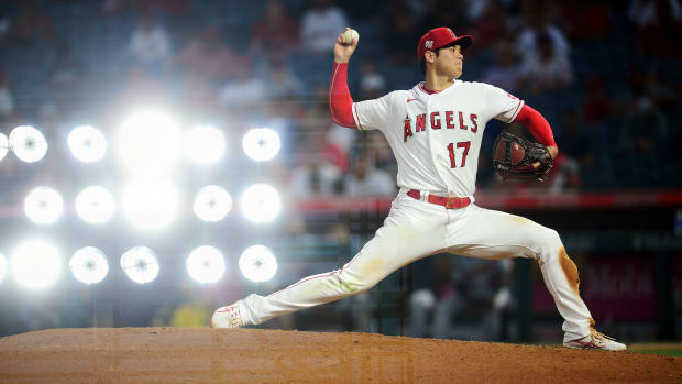 Jun 17, 2021; Anaheim, California, USA; (Editors Note: In Camera Multiple Exposure) Los Angeles Angels starting pitcher Shohei Ohtani (17) throws against the Detroit Tigers during the sixth inning at Angel Stadium.