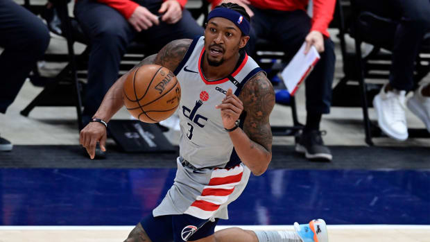 May 31, 2021; Washington, District of Columbia, USA; Washington Wizards guard Bradley Beal (3) dribbles up the court during game four against the Philadelphia 76ers in the first round of the 2021 NBA Playoffs. at Capital One Arena.