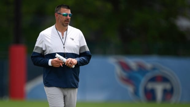 Titans head coach Mike Vrabel walks the field during practice at Saint Thomas Sports Park Thursday, May 27, 2021 in Nashville, Tenn.