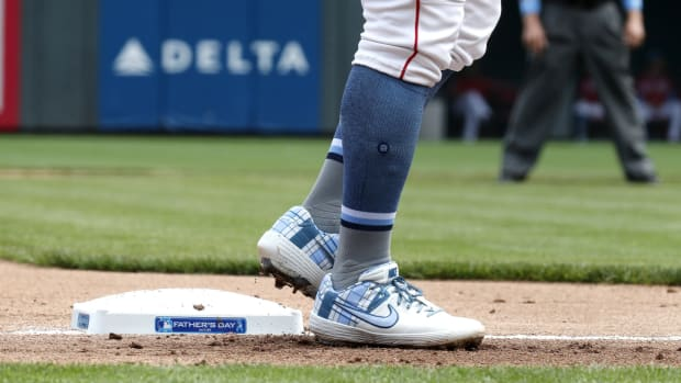 Jun 16, 2019; Cincinnati, OH, USA; A view of a Father's Day message on the third base bag in the second inning of a game between the Texas Rangers and the Cincinnati Reds at Great American Ball Park.