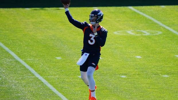 Denver Broncos quarterback Drew Lock (3) during organized team activities at the UCHealth Training Center.