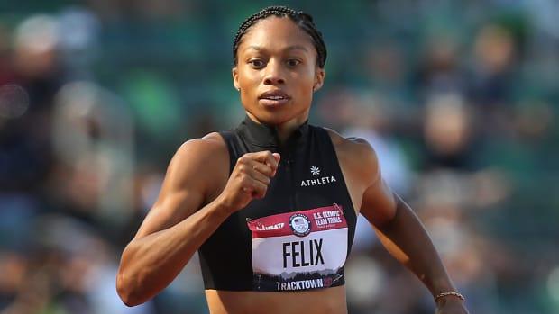 Allyson Felix running.