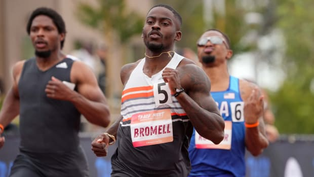 Trayvon Bromell (USA) wins the 100m in 9.92 during the Track Meet in a World Athletics Continental Tour competition at Crean Lutheran High School.