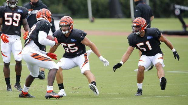 Aug 27, 2020; Cincinnati, Ohio, USA; Cincinnati Bengals linebackers Markus Bailey(51)and Logan Wilson(55) during training camp at the teams practice facility. Mandatory Credit: Joseph Maiorana-USA TODAY Sports