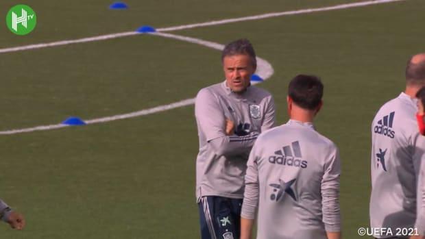 Spain's last training session before Slovakia clash
