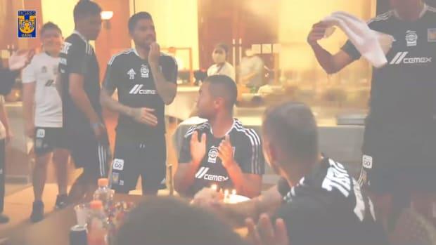 Carioca receives birthday 'pastelazo' from Tigres teammates