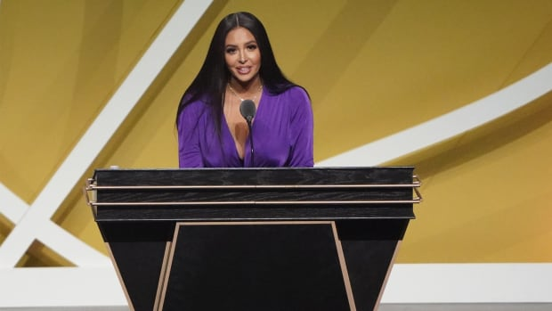 May 15, 2021; Uncasville, Connecticut, USA; Vanessa Bryant, wife of the late Kobe Bryant, speaks on his behalf during the Class of 2020 Naismith Memorial Basketball Hall of Fame Enshrinement ceremony at Mohegan Sun Arena.